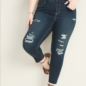 High-waisted distressed rockstar skinny ankle jean